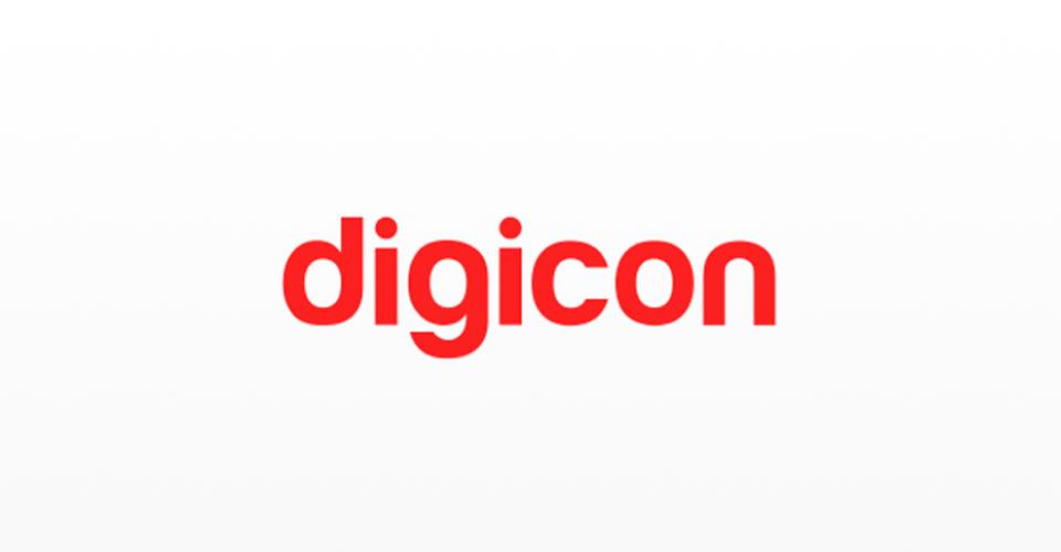 Logotipo da Digicon, pioneira no desenvolvimento de tecnologias em produtos e soluções de controle de acesso, mobilidade urbana e componentes aeroespaciais